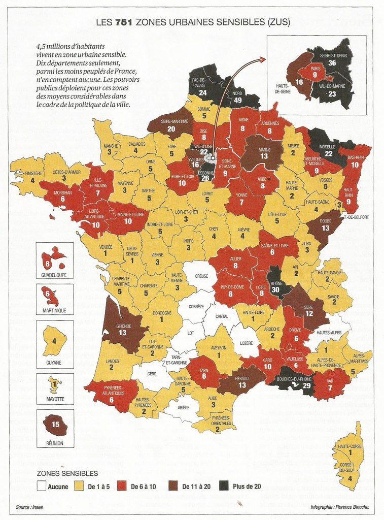 751 zones urbaines sensibles - France
